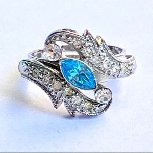 💙 Blue Sapphire Silver Adjustable Ring Wave